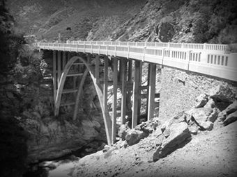 In Azusa Canyons, famous for dead body Mafia drop-offs, cults—you name it—is the Bridge to Nowhere. During an expansion process, the Bridge to Nowhere was created. It's located through a 4 to  6 hour hike up a river after the end of the East Fork Road cul-de-sac. The bridge is a full-on cement monster with 2 supposed tunnels on opposing sides that conjoin 2 hillsides. What is known is that for the amt it cost to build the monster it seems weird that there are no roads leading to or from it.