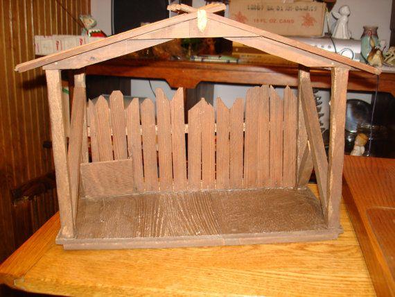 Natividad vintage de madera estable No figuras por GrantCityVintage