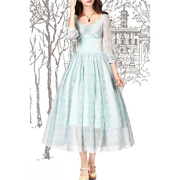 $44.72 Stylish V Neck 3/4 Sleeve Solid Color Lace Women's Flare Dress - Celadon