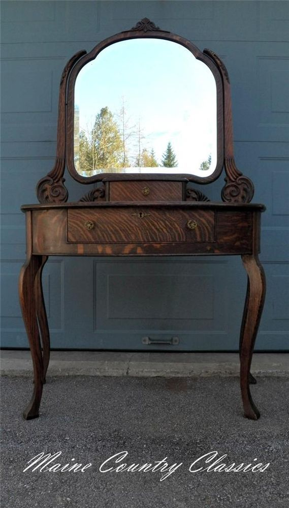 Antique Quartersawn Tiger Oak Vanity With Beveled Mirror