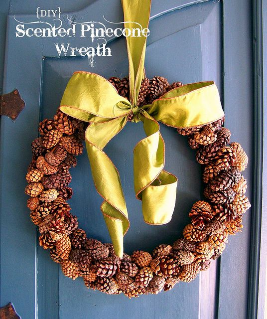 Cinnamon scented pinecones are easily attached to a grapevine wreath in this weekend project.: