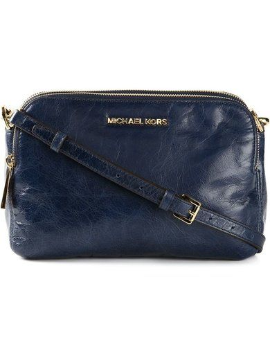'Navy blue leather medium 'Alexis' messenger bag from Michael Michael Kors.'