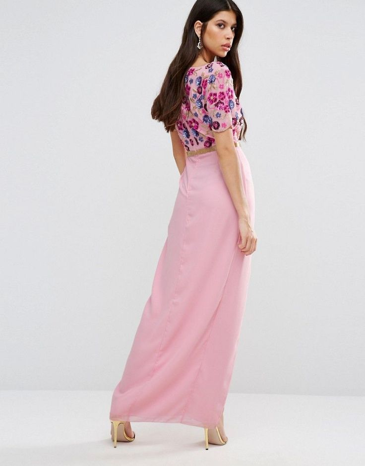 Virgos Lounge Bella Maxi Dress With Embroidered Bodice And Slit - Pink