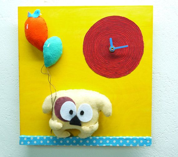 Nursery Wall Clock Children's wall clock by FabLabCrafts on Etsy