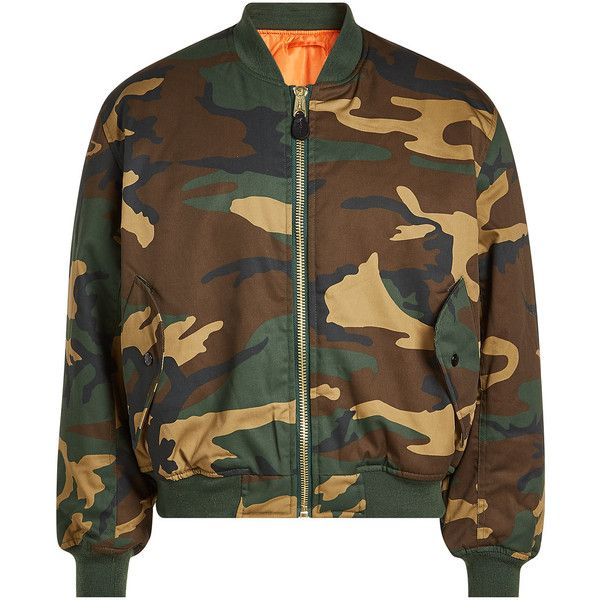 ALYX STUDIO Halcyon Blvd Printed Bomber Jacket (£320) ❤ liked on Polyvore featuring outerwear, jackets, multicolored, mens white jacket, mens camouflage jacket, mens camo bomber jacket, mens bomber jacket and mens camouflage bomber jacket