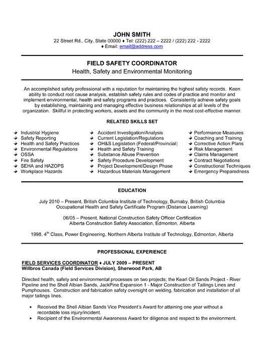 Click Here To Download This Field Safety Coordinator Resume Template!  Http://www · Hr ...