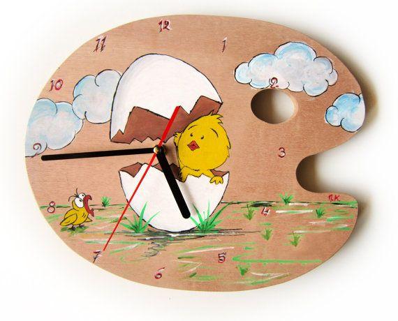 Wall Clock - Little chicken hand painting clock- Kids Clock - Wooden painting pallet clock- Kids Bedroom - Baby Nursery decor-boy - girl