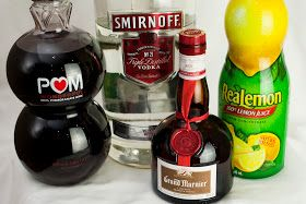 pomegranate martini, vodka, grand marnier, pomegranate juice, lemon juice