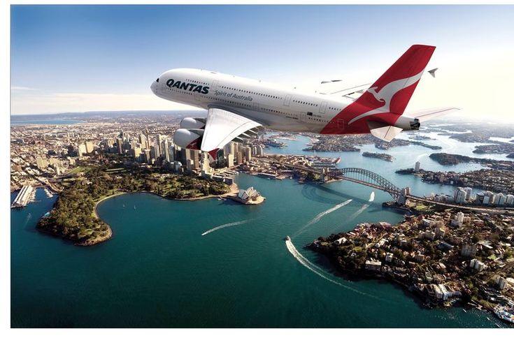 Qantas A 380 over Sydney