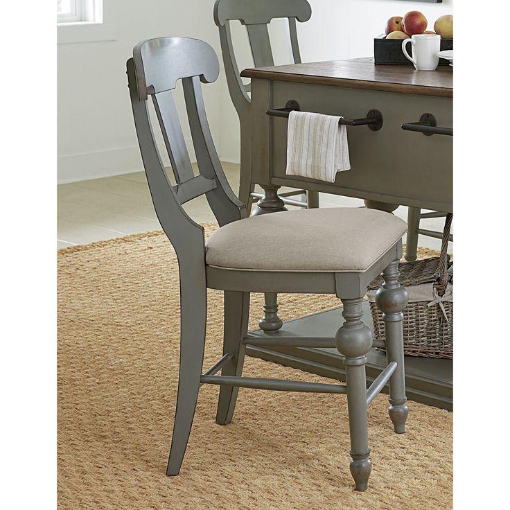 Progressive Colonnades Grey Oak Veneer Rubberwood Slat Counter Chair (Set of 2) (Slat Counter Chair (2/Ctn))