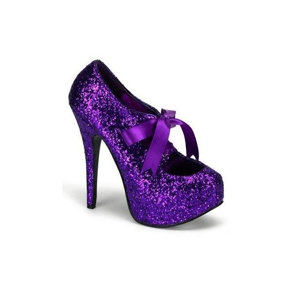 Bordello Purple Glitter High Heel Platform Pump - 9 ($75) ❤ liked on Polyvore featuring shoes, pumps, heels, zapatos, purple glitter shoes, platform pumps, heel pump, glitter shoes and high heel platform pumps