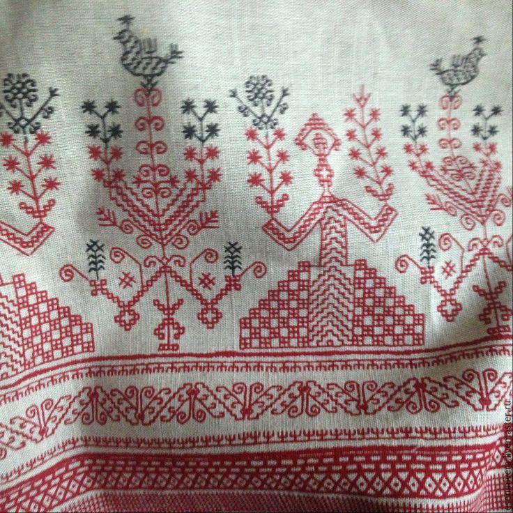 Купить Хлопколен -Ткань со славянским узором - комбинированный, лен, хлопок, макошь, русский стиль