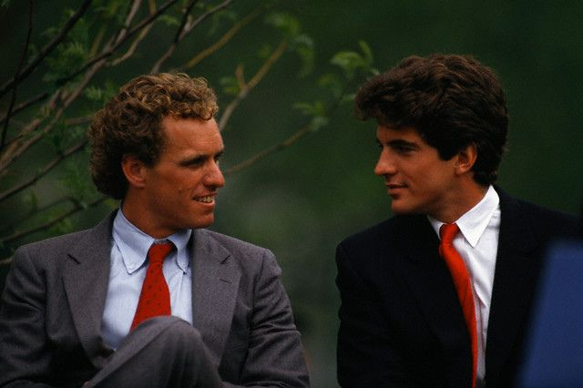 Joseph P. Kennedy, II and John F. Kennedy, Jr. at the inauguration of John F. Kennedy Park, 22 May 1987, Cambridge, Massachusetts, USA.