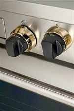DF484CG wolf range with brass bezel and black handles - Google Search