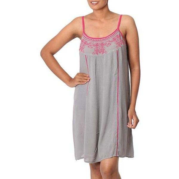 NOVICA 100% Viscose Dress in Taupe and Deep Rose from India ($53) ❤ liked on Polyvore featuring dresses, clothing & accessories, knee length, pink, summer sundresses, taupe dress, pink sundress, pink knee length dress and rayon summer dresses