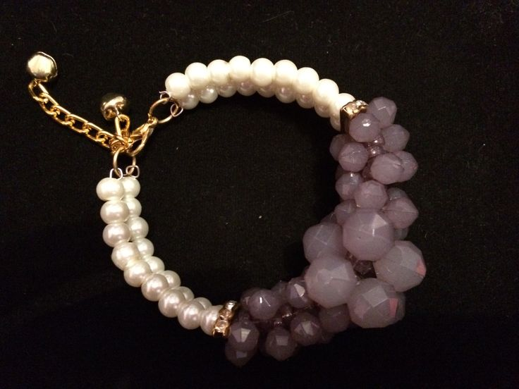 Grey Pearl and gem chunky bracelet