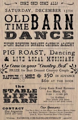 Barn dance fundraiser Dec 13,2014! Come one come all!