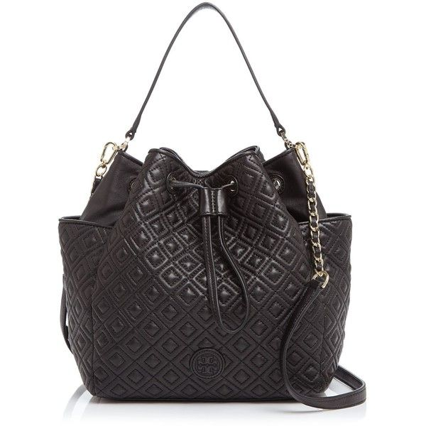 Tory Burch Marion Quilted Bucket Bag (18.755 UYU) ❤ liked on Polyvore featuring bags, handbags, shoulder bags, black, over the shoulder handbags, crossbody purse, quilted handbags, crossbody bucket bag and crossbody handbags