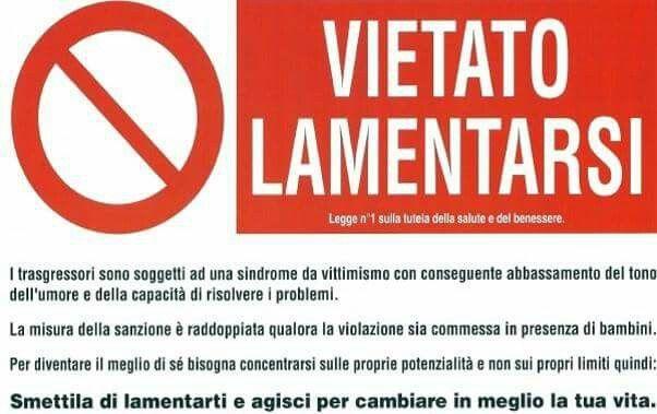 VIETATO LAMENTARSI