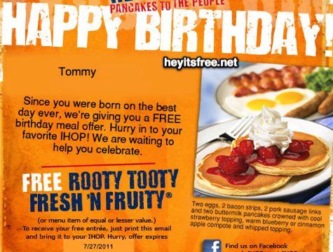 *IHOP Birthday Freebie breakfast: two eggs, two bacon ...
