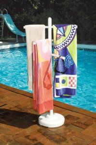 Love this towel rack idea FOR POOLSIDE AND CAMPING!!!