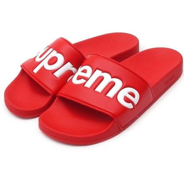 NEW Supreme Sandals RED BOX Logo Flip Flop Slippers Summer 2014 MEN'S... ❤ liked on Polyvore featuring men's fashion, men's shoes, men's sandals, mens sandals, mens shoes, mens summer sandals, mens summer shoes and mens red shoes