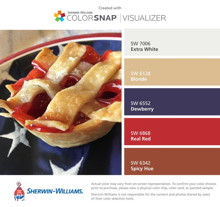 Colors | Combos | Palettes | Color Snap App | Sherwin-Williams | Extra White | Blonde | Dewberry Blue | Real Red | Spicy Hue Brown