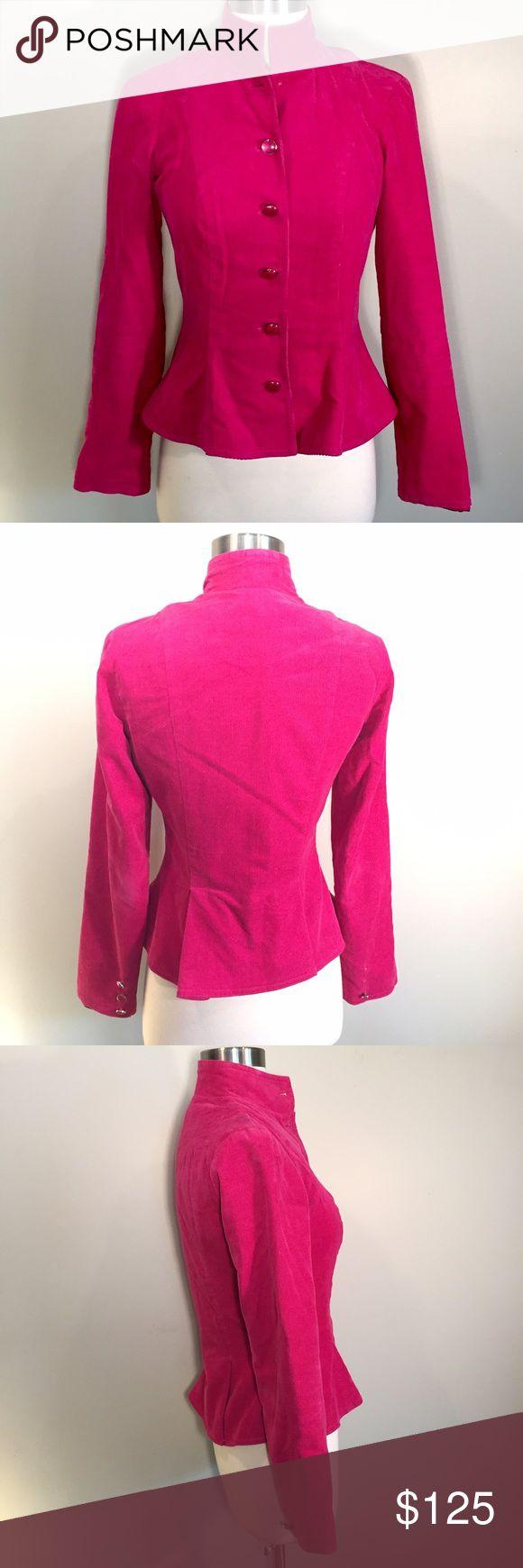Betsy Johnson UK pink corduroy peplum jacket Betsy Johnson UK pink corduroy peplum jacket. Missing one button as shown in photo Betsey Johnson Jackets & Coats Blazers