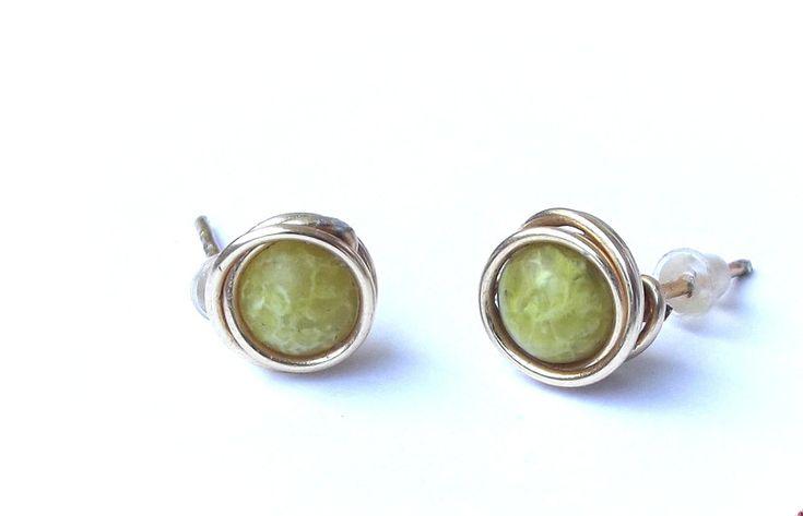 Stud Earrings – Earrings green turquoise wire wrapping – a unique product by betulek on DaWanda  #earrings   #kolczyki  #jewelry   #jewellery   #gift   #beauty   #fashion   #style  #minimalism   #quality #trendy #handmade   #handmadejewelry   #buyhandmade   #earings   #betulek   #bybetulek   #jewel   #look
