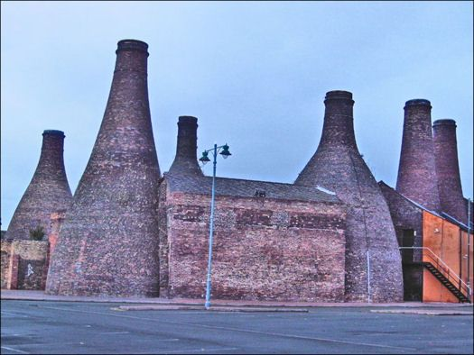 large bottle kilns seen from the rear of the Gladstone and Roslyn works, Uttoxeter Road, Longton  photo: Chris Oldham - 2007