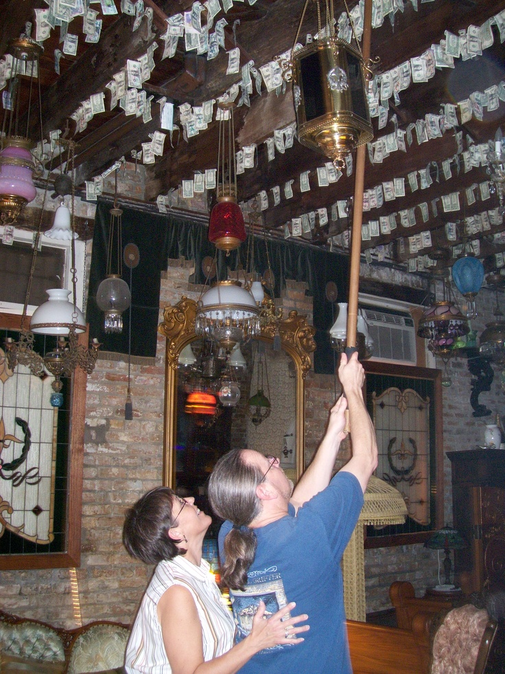 Pinning Our Dollar On The Ceiling At French Quarter Wedding Chapel
