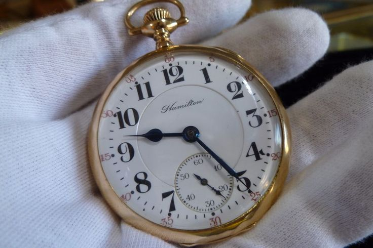 RR Grade 14K Solid Y Gold Hamilton Pocket Watch 992 16 Size 21 J. Double Roller  #Hamilton