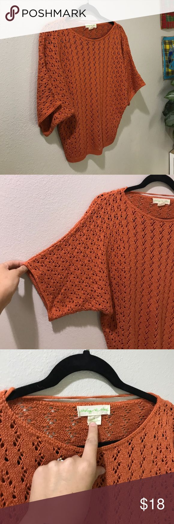 UO SEEING STARS M CROCHET ORANGE BATWING SHIRT Super cute shirt Urban Outfitters Tops