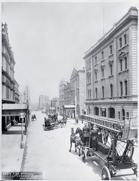 Horse-drawn fire appliances outside the city fire station in Castlereagh Street. The building was completed in 1887. Colonial architect James Barnet designed the facade of Castlereagh Street in a classical-revival style.