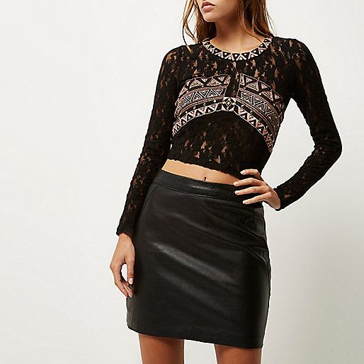 Black embroidered lace top - crop tops / bralets - tops - women