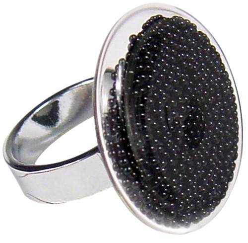 Bague PYLONES plate perles noires - PYLONES