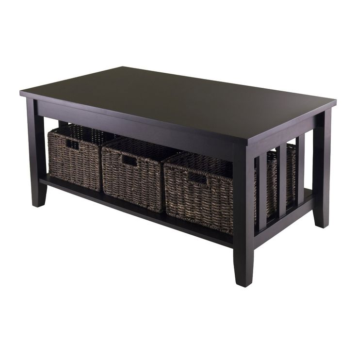 Mission Style Dark Wood Coffee Table With 3 Folding Storage Baskets