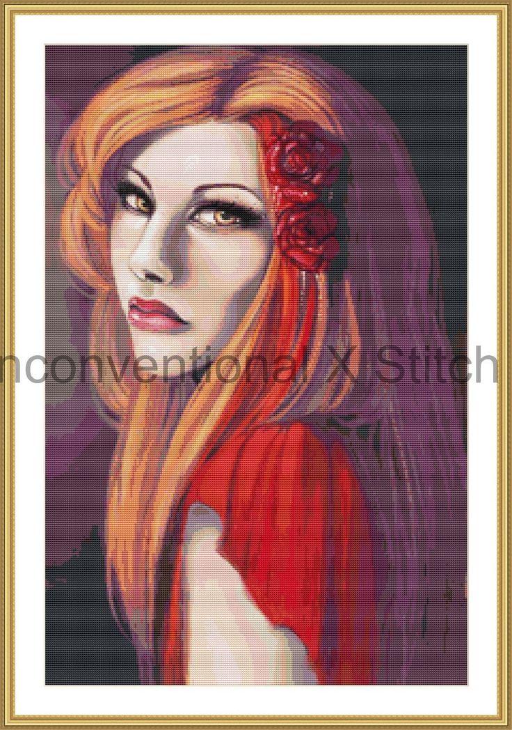 Bloom beautiful woman portrait cross stitch pattern by UnconventionalX on Etsy