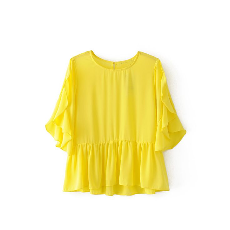 2017 summer tops casual ruffles womens clothing yellow women shirts short sleeve women blouses yellow women tops #Affiliate