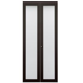 ReliaBilt Espresso Solid Core (No Skin) Tempered Frosted Glass Bifold  Closet Door (Common: X Actual: X 80 Inches)