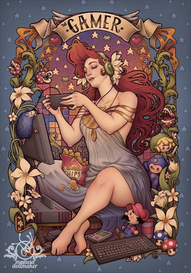 """The Gamer"" - Alphonse Mucha style"