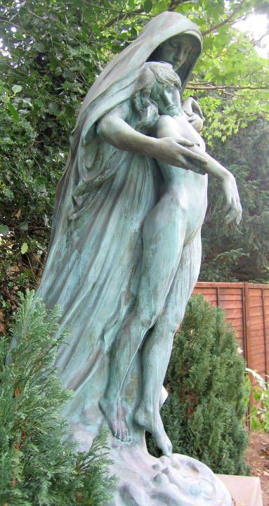Into the Silent Land by Henry Alfred Pegram (1862-1937). 1896. Bronze. Golders Green Crematorium. Wild Hatch, Barnet, Greater London