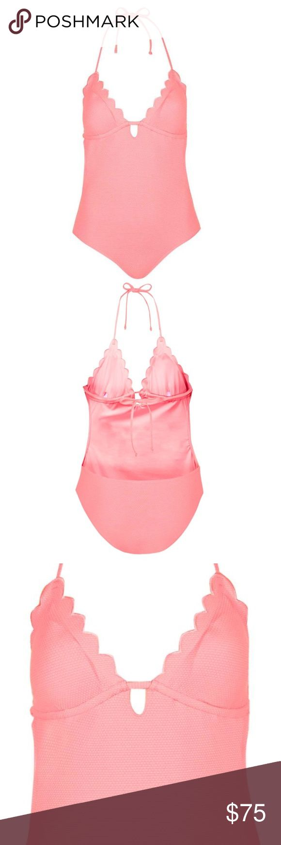 TOPSHOP Pink Scallop Swimsuit Petite pink swimsuit with scallop edged cups and removable halter straps. 94% Polyamide, 6% Elastane. Machine wash. Colour: PINK   LIKE NEW NEVER WORN! Topshop Swim One Pieces