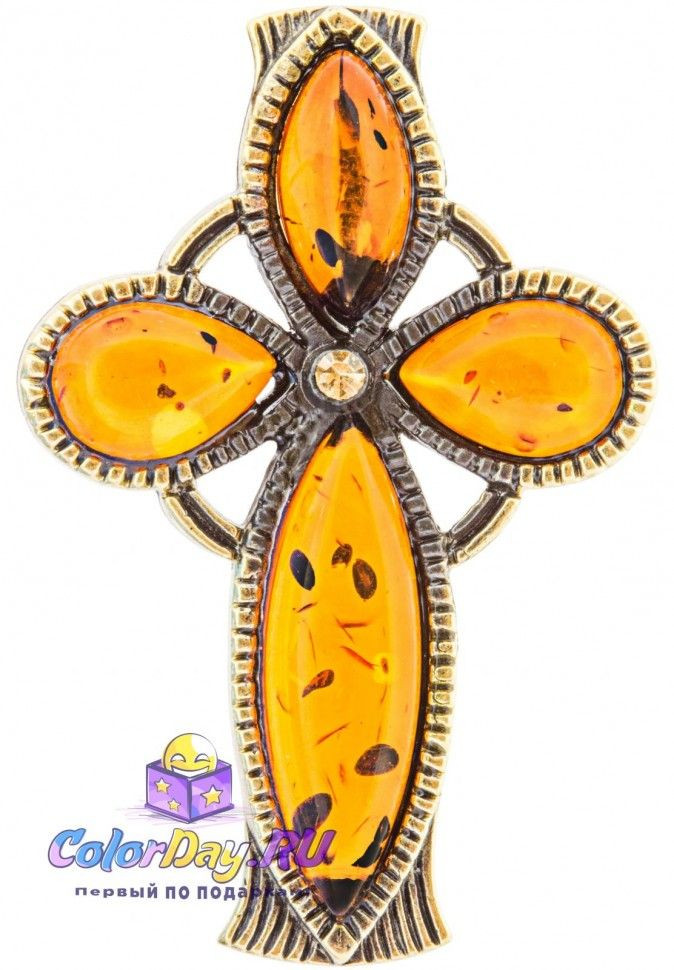 """украшение с янтарем подвеска """"Мальтийский Крест"""" купить"""