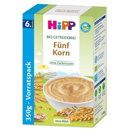 HiPP Bio Grain Meal - 5 Grain for the safe and balanced diet of your baby.- without added sugar - ingredients naturally contain sugar   - without milk   - with vitamin B1 - important for the nervous system   - Valuable, easily...