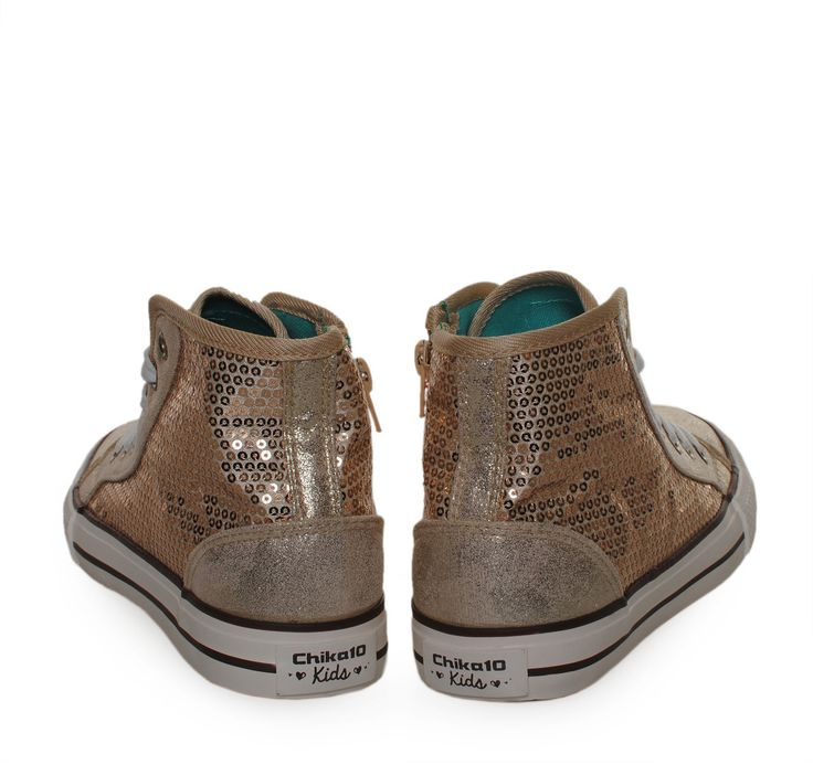 CHIKA10 Girly Gold Canvas High-cut Sneakers with Sequins. Παιδικά κοριτσίστικα χρυσά υφασμάτινα παπούτσια με παγιέτες.