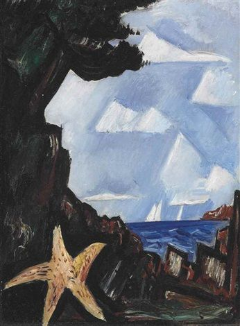 """""""Sea View--Starfish, New England,"""" Marsden Hartley, 1934, oil on board, 16 x 12"""", private collection."""
