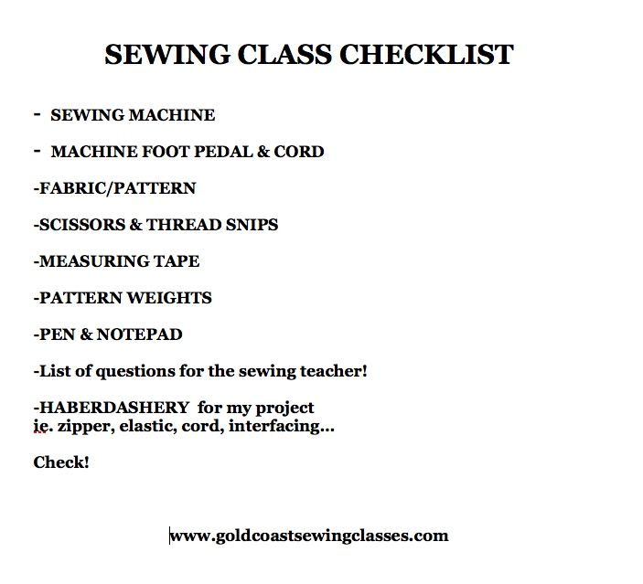"""""""Have I packed everything I need for my sewing class?"""" Helps to have a checklist before leaving home! Here's my suggestion for a checklist, but you can add/subtract to tailor your personal sewing needs. Thanks to one of this morning's students for suggesting this tip. (That was after she arrived without her machine's foot pedal & cord….You wouldn't believe how often that happens!!)"""