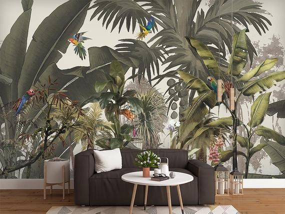 Oil Painting Tropical Plants Wallpaper Wall Mural Southeast Rainforest Tropical Scenic Wall Mural