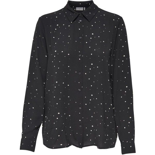 M&Co Jdy Ditsy Print Shirt (77 BRL) ❤ liked on Polyvore featuring tops, black, collar top, collared shirt, lightweight long sleeve shirts, long-sleeve shirt and long sleeve tops